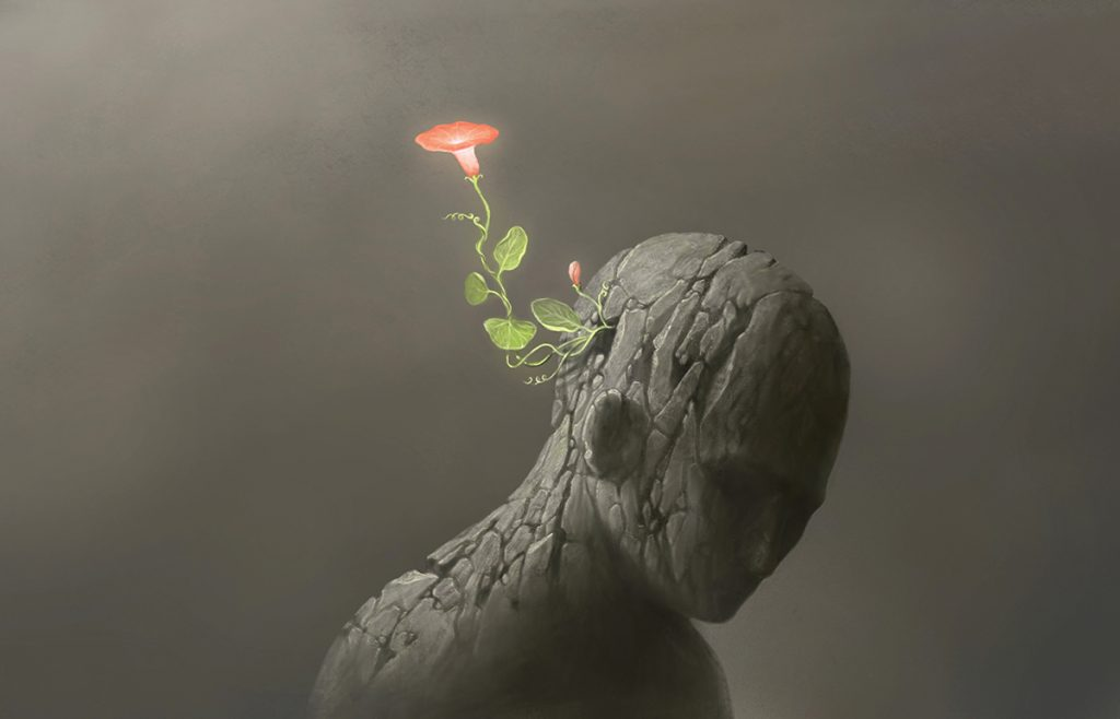 Mental alchemy image with a flower growing out of a mans head representing how the mind is like a garden